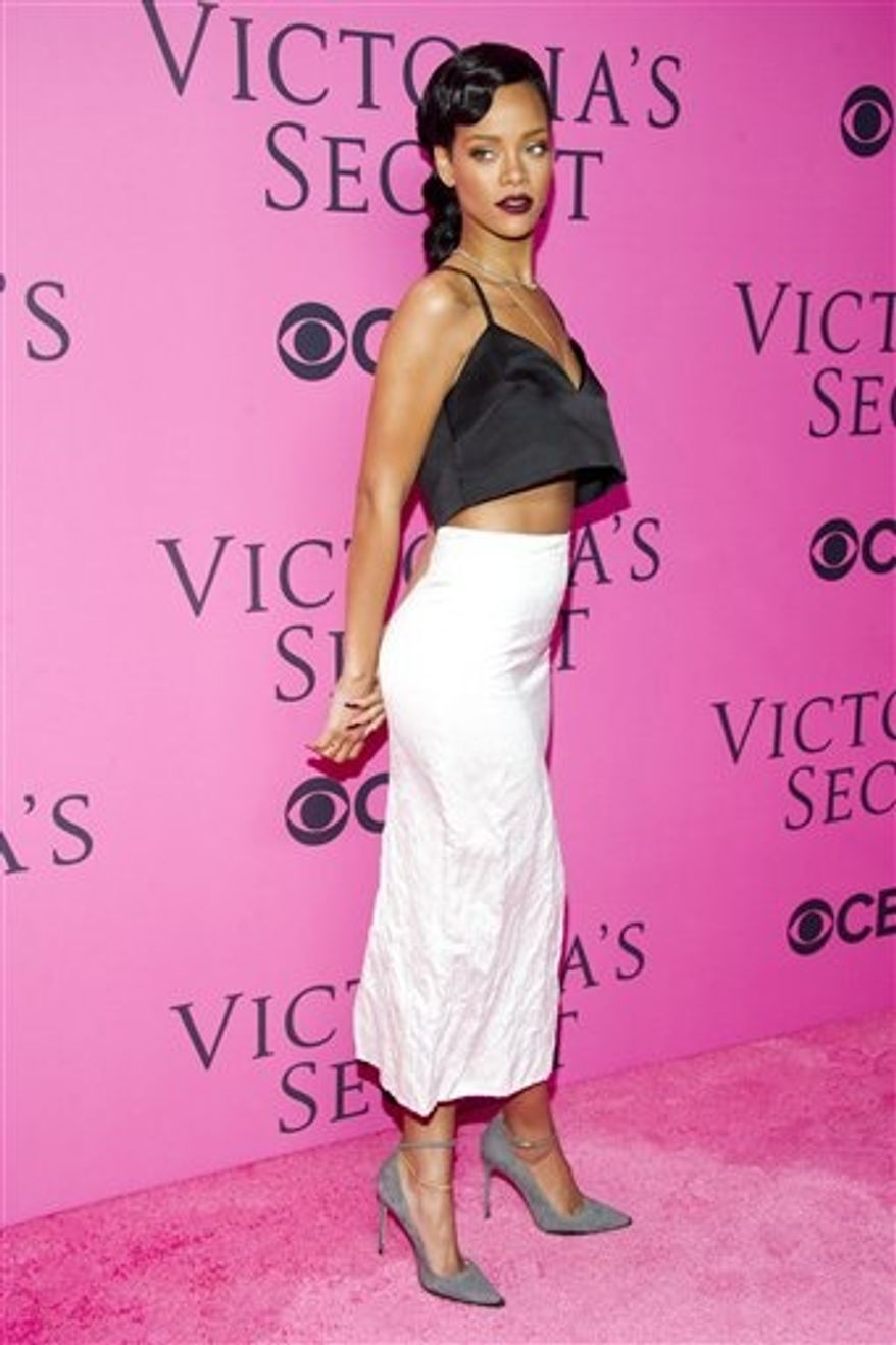 Rihanna arrives at The Victoria's Secret Fashion Show on Wednesday, Nov. 7, 2012, in New York. (Photo by Charles Sykes/Invision/AP)