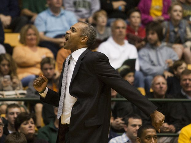 George Mason Patriots head coach Paul Hewitt reacts to a call in the first half against the Virginia Cavaliers at the Patriot Center in Fairfax, Va., Wednesday, November 9, 2012. George Mason Patriots host the Virginia Cavaliers for the 2012-2013 men's college basketball season opener. (Craig Bisacre/The Washington Times)