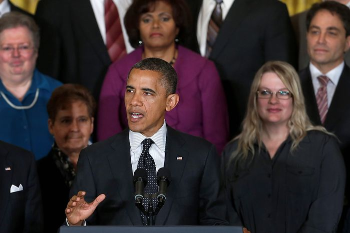 President Obama speaks Nov. 9, 2012, in the East Room of the White House in Washington about the economy and the deficit. (Associated Press)