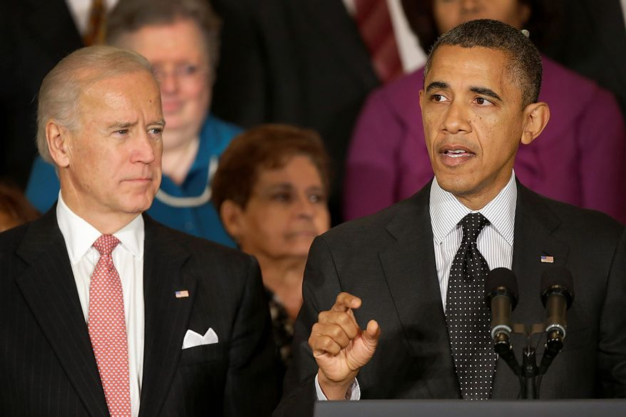 ** FILE ** President Obama, accompanied by Vice President Joe Biden, speaks Nov. 9, 2012, in the East Room of the White House in Washington about the economy and the deficit. (Associated Press)
