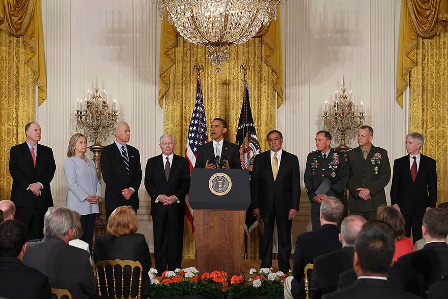 President Obama, accompanied by his national security team, speaks in the East Room of the White House in Washington on April 28, 2011. From left are, National Security Adviser Tom Donilon, Secretary of State Hillary Rodham Clinton; Vice President Joe Biden; outgoing Defense Secretary Robert Gates; the president, Defense Secretary-nominee Leon Panetta; CIA Director-nominee Gen. David Petraeus; and top commander-designate for U.S. forces in Afghanistan, Marine Corps Lt. Gen. John Allen, and U.S. Ambassador to Afghanistan-designate Ryan Crocker. (Associated Press)