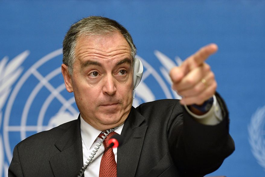 Panos Moumtzis, the U.N. refugee agency regional coordinator, speaks during a Nov. 9, 2012, news conference at the headquarters of the United Nations in Geneva. (Associated Press)