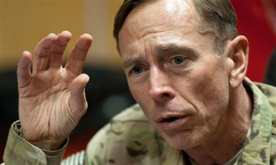 Army Gen. David Petraeus, the top U.S. commander in Afghanistan and soon-to-be Director of CIA, conducts a question and answer session with the media, traveling with the new U.S. Defense Secretary, Saturday, July 9, 2011, at Camp Eggers in Kabul, Afghanistan. (AP Photo/Paul J. Richards, Pool)
