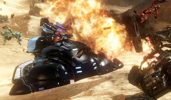 Explosive action from the video game Halo 4.