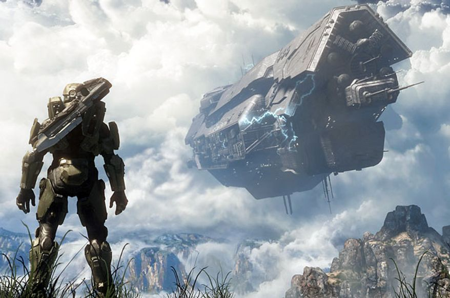 Master Chief looks at the damaged UNSC starship Infinity in the video game Halo 4.