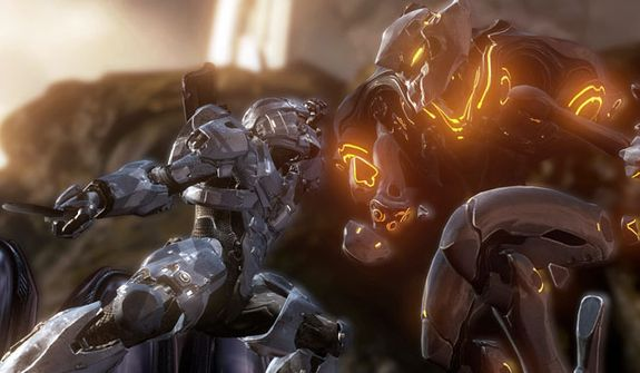 Spartan versus a Promethean Knight in the video game Halo 4.