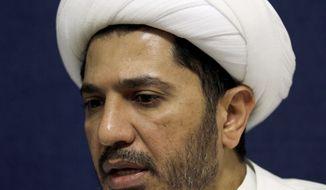Sheik Ali Salman, head of the Shiite opposition Al Wefaq society, speaks to The Associated Press at his office in Manama, Bahrain, on Nov. 11, 2012. (Associated Press)