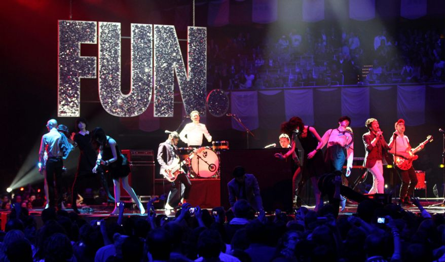 US band 'fun.' perform during the 2012 MTV European Music Awards show at the Festhalle in Frankfurt, central Germany, Sunday, Nov. 11, 2012. (AP Photo/Michael Probst)