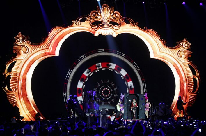US singer Taylor Swift performs during the 2012 MTV European Music Awards show at the Festhalle in Frankfurt, central Germany, Sunday, Nov. 11, 2012. (AP Photo/Michael Probst)