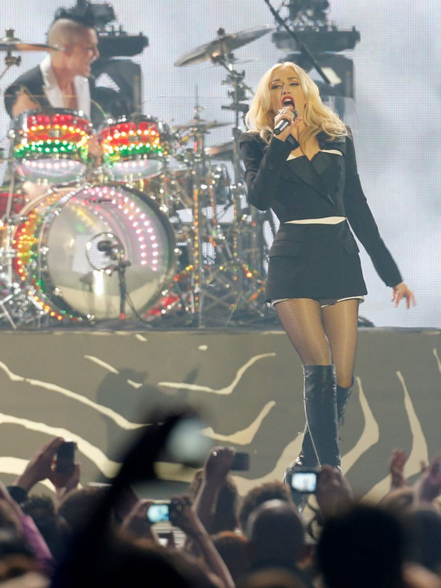 Gwen Stefani, singer of US band No Doubt, performs during the 2012 MTV European Music Awards show at the Festhalle in Frankfurt, central Germany, Sunday, Nov. 11, 2012. (AP Photo/Michael Probst)