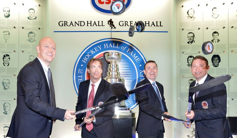 Adam Oates (second from right) is joined by fellow Hall of Fame inductees (from left) Mats Sundin, Joe Sakic and Pavel Bure at the Hockey Hall of Fame in Toronto. (Associated Press)