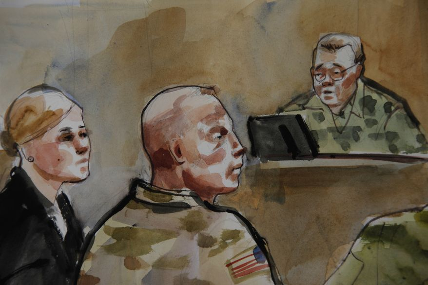 **FILE** In this courtroom sketch, U.S. Army Staff Sgt. Robert Bales (center) is shown Nov. 5, 2012, during a preliminary hearing in a military courtroom at Joint Base Lewis McChord in Washington state. An Afghan National Army guard who reported seeing a U.S. soldier outside a remote base the night 16 civilians were massacred in March said the man did not stop even after being asked three times to do so. (Associated Press)