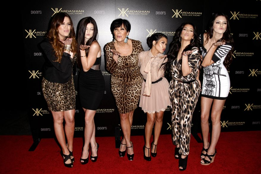 **FILE** From left: Khloe Kardashian, Kylie Jenner, Kris Jenner, Kourtney Kardashian, Kim Kardashian and Kendall Jenner arrive at the Kardashian Kollection launch party in Los Angeles on Aug. 17, 2011. The Kardashian Kollection designed by the Kardashian sisters is available at Sears. (Associated Press)