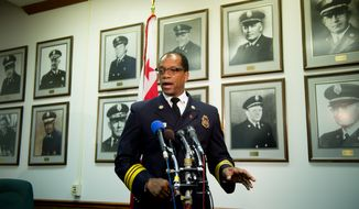 Washington, D.C. Fire and EMS Chief Kenneth B. Ellerbe speaks at a press conference held at Fire and EMS headquarters on his proposed plan to redeploy the department's emergency medical service workers into a configuration that would leave ambulances staffed with no paramedics during the overnight hours, Washington, D.C., Tuesday, November 13, 2012. (Andrew Harnik/The Washington Times)