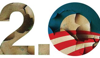 Illustration Obama 2.0 by Alexander Hunter for The Washington Times
