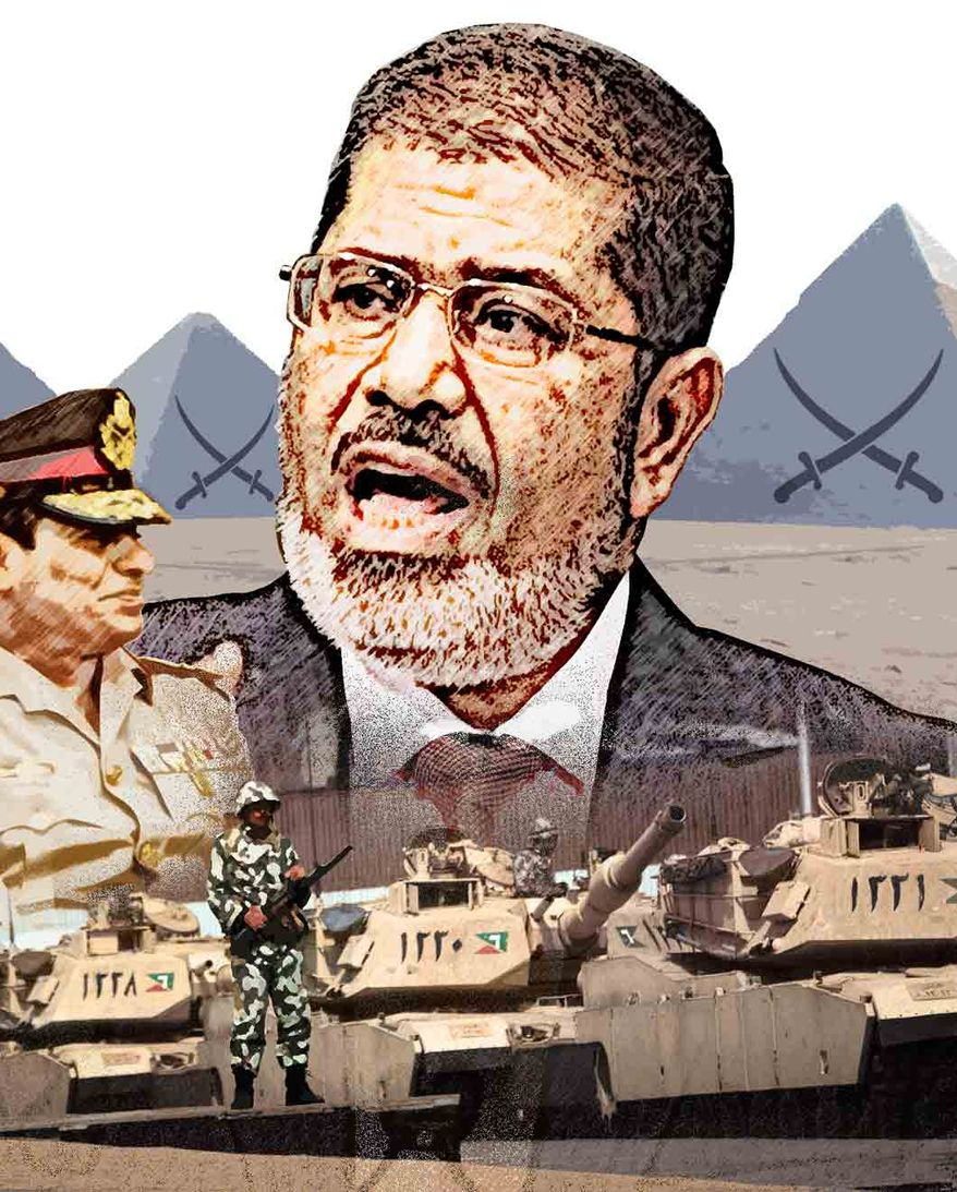 Illustration Morsi by Greg Groesch for The Washington Times