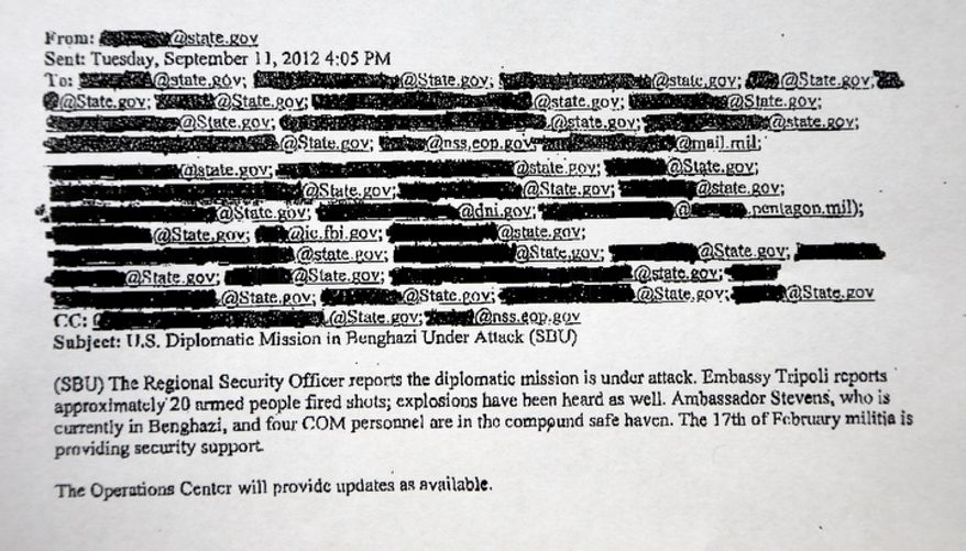 This is a redacted copy of an email obtained by The Associated Press that discusses the attack of the U.S. Consulate in Benghazi, Libya. Two hours after the consulate came under attack, the White House was told that a militant group was claiming responsibility for the violence that killed the U.S. ambassador and three other Americans. (Associated Press)