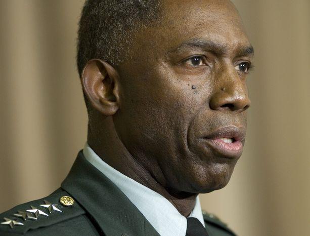 "**FILE** Army Gen. William E. ""Kip"" Ward, commander of U.S. Africa Command, speaks Oct. 1, 2008, at the Pentagon. (Associated Press)"