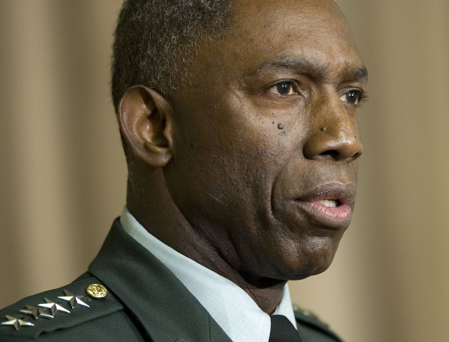 "**FILE** Army Gen. William E. ""Kip"" Ward, commander of U.S. Africa Command, speaks Oct. 1, 2008, at the Pentagon. (Associated Press)"