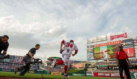 Bryce Harper takes the field as the Washington Nationals take on the Arizona Diamondbacks in Major League Baseball at Nations Ballpark, Washington, D.C., Tuesday, May 1, 2012. (Andrew Harnik/The Washington Times)