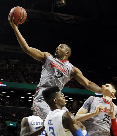 ** FILE ** Maryland's Dez Wells (32) shoots against Kentucky during the first half of their NCAA college basketball game in the Barclays Center Classic, Friday, Nov. 9, 2012, in New York. (AP Photo/Jason Decrow)