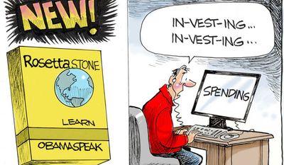 Rosetta Stone: Learn Obamaspeak (Illustration by Dana Summers for the Orlando Sentinel)