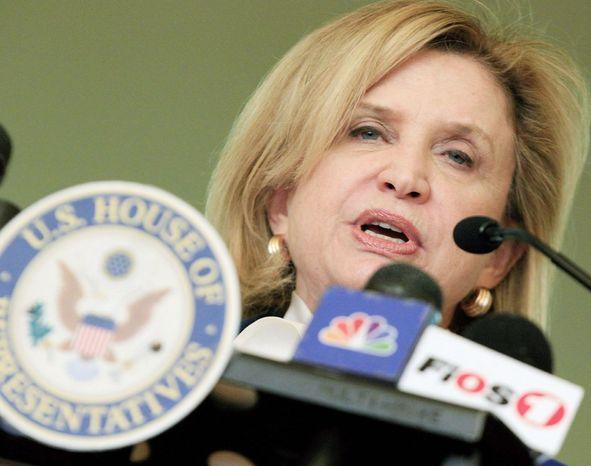 Rep. Carolyn B. Maloney, New York Democrat (Associated Press) **FILE**