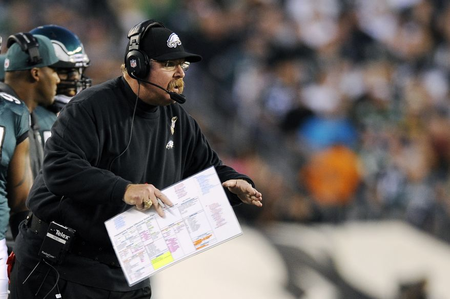 ** FILE ** Philadelphia Eagles head coach Andy Reid yells to his team in the first half of an NFL football game against the Dallas Cowboys, Sunday, Nov. 11, 2012, in Philadelphia. (AP Photo/Michael Perez)
