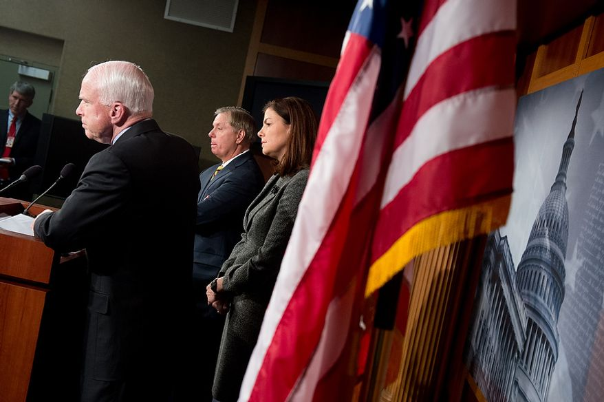 Sens. John McCain (R-Ariz.), left, Lindsey Graham (R-S.C.), second from left, and Kelly Ayotte (R-N.H.), right, hold a press conference at the U.S. Capitol Building calling for a Senate Armed Services Committee Hearing on the Benghazi attack, Washington, D.C., Wednesday, November 14, 2012. (Andrew Harnik/The Washington Times)