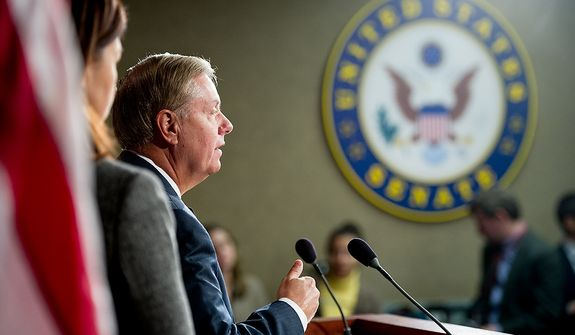 Lindsey Graham (R-S.C.) speaks at a press conference at the U.S. Capitol Building where he called for a Senate Armed Services Committee Hearing on the Benghazi attack, Washington, D.C., Wednesday, November 14, 2012. (Andrew Harnik/The Washington Times)