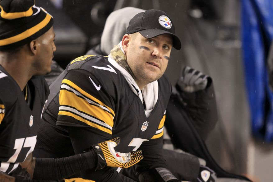 Pittsburgh Steelers quarterback Ben Roethlisberger (7) sits on the bench in the first half during an NFL football game against the Kansas City Chiefs in Pittsburgh Monday, Nov. 12, 2012. Roethlisberger was injured in the second quarter and did not return to the game. (AP Photo/Gene J. Puskar)