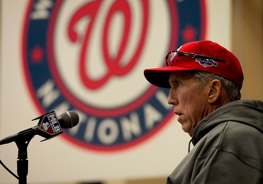 **FILE** Washington Nationals manager Davey Johnson talks to the media during a press conference at Nationals Park on Oct. 9, 2012. (Barbara L. Salisbury/The Washington Times)