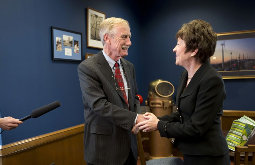 Sen. Susan Collins, Maine Republican, meets Nov. 13, 2012, with Independent Senator-elect Angus King in her office on Capitol Hill in Washington to discuss committee assignments and how they'll work together to represent Maine in the Senate. (Associated Press)