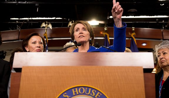 House Minority Leader Nancy Pelosi (D-Calif.), surrounded by House congresswomen, announces that she will stay on as House minority leader at the U.S. Capitol Building, Washington, D.C., Wednesday, November 14, 2012. (Andrew Harnik/The Washington Times)