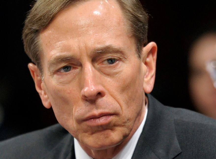 ** FILE ** This Feb. 2, 2012, file photo shows then-CIA Director David Petraeus testifying on Capitol Hill in Washington. Petraeus has resigned because of an extramarital affair.  (AP Photo/Cliff Owen, File)