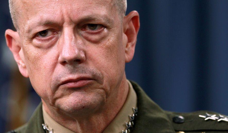 Retired Marine Gen. John Allen during a November 2012 press conference (File/Associated Press).