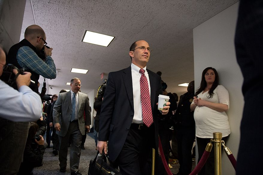 FBI Deputy Director Sean Joyce arrives for a closed door Senate Select Committee on Intelligence hearing to discuss the September 11, 2012 attack on the U.S. Consulate in Benghazi, Libya, and the intelligence and security situation in other Arab Spring countries at the Hart Senate Office Building, Washington, D.C., Thursday, November 15, 2012. (Andrew Harnik/The Washington Times)