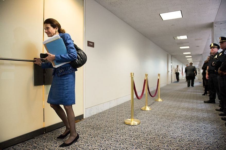 Sen. Olympia Snowe (R-Maine) arrives for a closed door Senate Select Committee on Intelligence hearing to discuss the September 11, 2012 attack on the U.S. Consulate in Benghazi, Libya, and the intelligence and security situation in other Arab Spring countries at the Hart Senate Office Building, Washington, D.C., Thursday, November 15, 2012. (Andrew Harnik/The Washington Times)