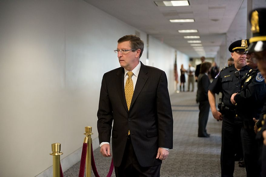 Sen. Kent Conrad (D-N.D.) arrives for a closed door Senate Select Committee on Intelligence hearing to discuss the September 11, 2012 attack on the U.S. Consulate in Benghazi, Libya, and the intelligence and security situation in other Arab Spring countries at the Hart Senate Office Building, Washington, D.C., Thursday, November 15, 2012. (Andrew Harnik/The Washington Times)