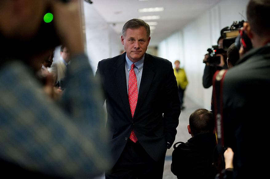 Senator Richard Burr (R-N.C.) arrives for a closed door Senate Select Committee on Intelligence hearing to discuss the September 11, 2012 attack on the U.S. Consulate in Benghazi, Libya, and the intelligence and security situation in other Arab Spring countries at the Hart Senate Office Building, Washington, D.C., Thursday, November 15, 2012. (Andrew Harnik/The Washington Times)