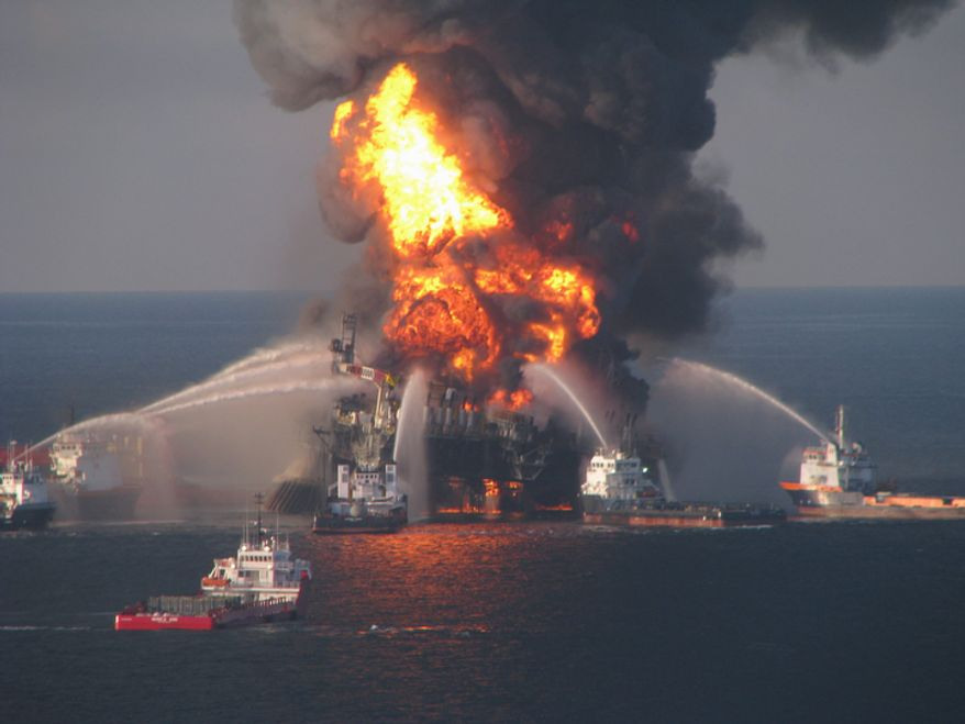Fireboat response crews battle the blazing remnants of the offshore Deepwater Horizon on April 21, 2010. (AP Photo/U.S. Coast Guard)