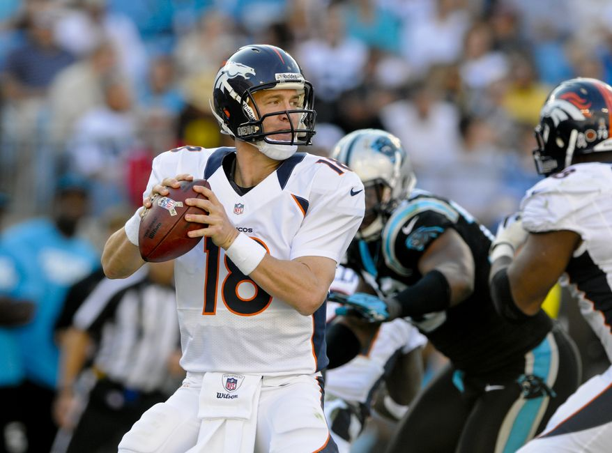 Denver Broncos quarterback Peyton Manning (18) throws a pass during an NFL football game against the Carolina Panthers  in Charlotte, NC Sunday, Nov. 11, 2012. (AP Photo/Mike McCarn)