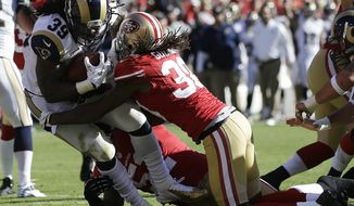 St. Louis Rams running back Steven Jackson carries the ball into the end zone for a touchdown past San Francisco 49ers free safety Dashon Goldson, right, during the first quarter of an NFL football game in San Francisco, Sunday, Nov. 11, 2012. (AP Photo/Marcio Jose Sanchez)