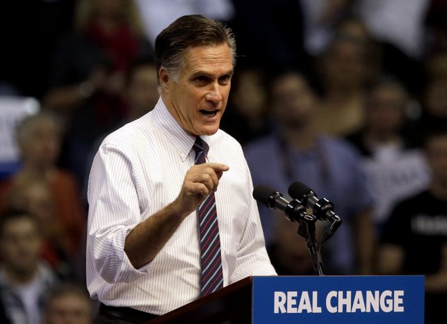 **FILE** Republican presidential candidate Mitt Romney speaks Nov. 5, 2012, at a campaign event at the Verizon Wireless Arena in Manchester, N.H. (Associated Press)