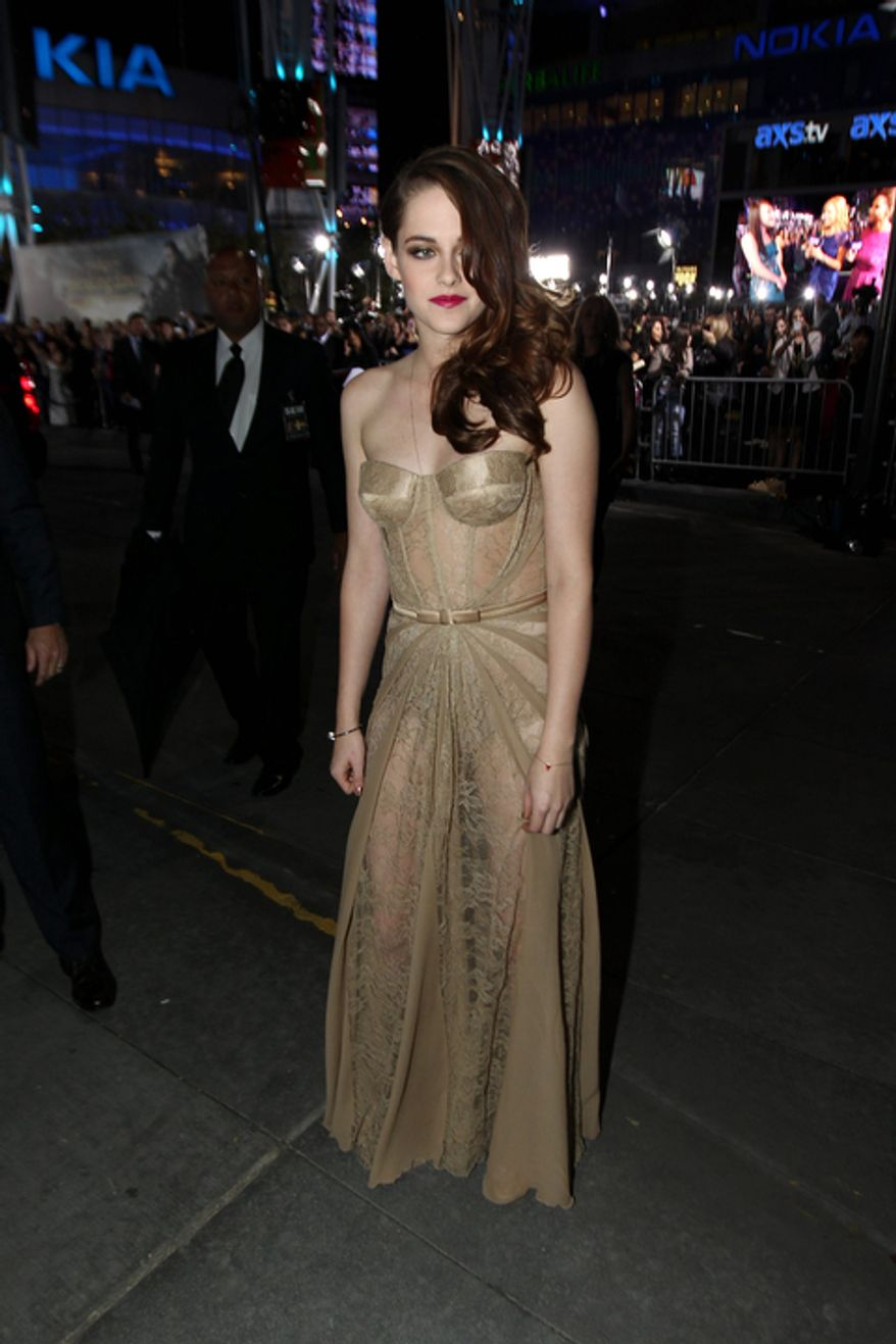 "Kristen Stewart attends the world premiere of ""The Twilight Saga: Breaking Dawn Part 2"" at the Nokia Theatre on Monday, Nov. 12, 2012, in Los Angeles. (Photo by Matt Sayles/Invision/AP)"