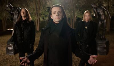 "This film image released by Summit Entertainment shows Christopher Heyerdahl, left, Michael Sheen, center, and Jamie Campbell Bower in a scene from ""The Twilight Saga: Breaking Dawn Part 2."" (AP Photo/Summit Entertainment, Andrew Cooper)"