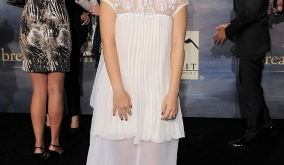 """Fivel Stewart  attends the world premiere of """"The Twilight Saga: Breaking Dawn Part 2"""" at the Nokia Theatre on Monday, Nov. 12, 2012, in Los Angeles. (Photo by Jordan Strauss/Invision/AP)"""