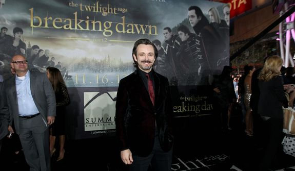 "Michael Sheen attends the world premiere of ""The Twilight Saga: Breaking Dawn Part 2"" at the Nokia Theatre on Monday, Nov. 12, 2012, in Los Angeles. (Photo by Matt Sayles/Invision/AP)"