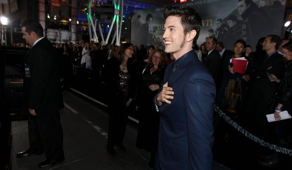 """Jackson Rathbone attends the world premiere of """"The Twilight Saga: Breaking Dawn Part 2"""" at the Nokia Theatre on Monday, Nov. 12, 2012, in Los Angeles. (Photo by Matt Sayles/Invision/AP)"""
