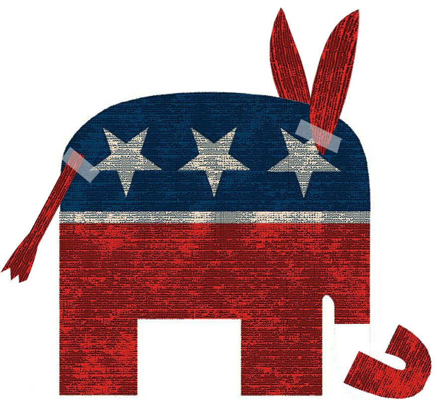 Illustration Conservative Blame-Game by Alexander Hunter for The Washington Times